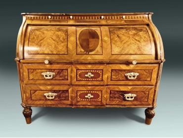 Antiguo Bureau Aleman de Tapa de Cilindro Siglo XVIII