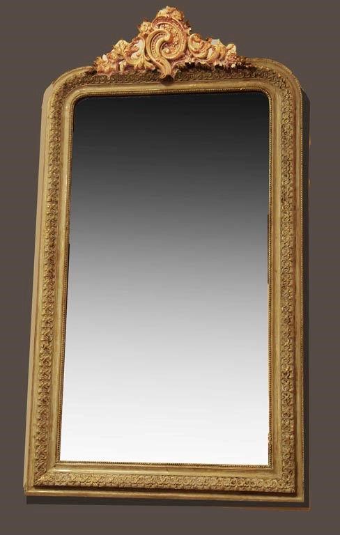 espejo antiguo frances policromado dorado y decap