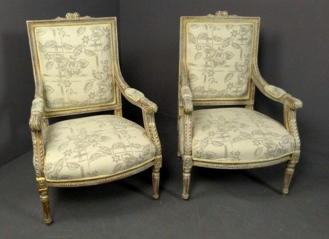 sillones franceses estilo luis xvi pareja