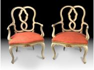 Pair of Armchairs Early 19th Century Italian Polychromed and Part Gilt